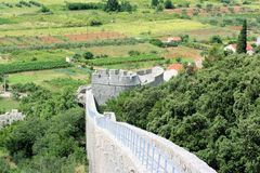 View on tower of defence wall, Ston, Croatia Stock Photo