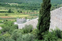 View on tower of defence wall, Ston, Croatia Stock Photography