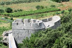 View on tower of defence wall, Ston, Croatia Royalty Free Stock Photography