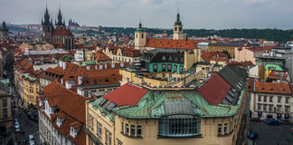 View from tower in downtown Prague Royalty Free Stock Photos