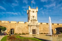 View at the Tower of the Earth Doors at the Constitution place in Cadiz - Sapin Royalty Free Stock Photography