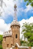 View of tower of entrance building Edificio de entrada in Parc G Stock Photography