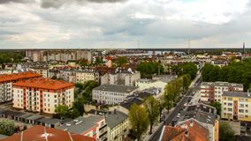 View from tower of former Martin Luter church in Swinoujscie in Poland. View on Pilsudski street, Chopin park and Swina river. Photo in 16:9 format Stock Photos