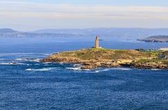 View of Tower of Hercules from the Monte de San Pedro Park of La Coruna, Spain.n. stock image