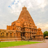 View at the tower Hindu Brihadishvara Temple, India, Tamil Nadu, Royalty Free Stock Images