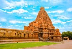 View at the tower Hindu Brihadishvara Temple, India, Tamil Nadu, Royalty Free Stock Photo