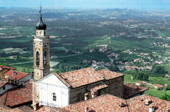View from a tower of italian city of Langhe, Unesco heritage Royalty Free Stock Photography