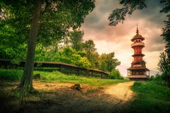 The view tower of Jurkovic architecture, Roznov pod Radhostem, Czech Republic. The view tower of Jurkovic architecture stands in a landscape, Roznov pod stock photo