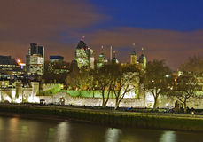 View on the Tower of London in night. View on the Tower of London in night from the river Thames Royalty Free Stock Photo