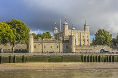 View of the Tower of London from the Thames river. London Englan Royalty Free Stock Photos
