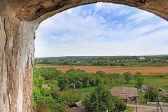 View from the tower of Medzhybizh castle Stock Photos