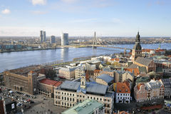 The view from tower of Saint Peters Church on cityscape of Riga Royalty Free Stock Image