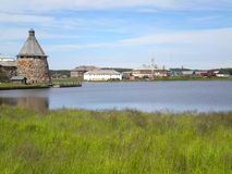 View of a tower and settlement Solovki. Solovetsky Islands Royalty Free Stock Photo