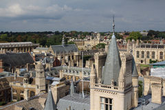 View from tower of St Mary the Great, Cambridge, England. The city of Cambridge is a university city and the county town of Cambridgeshire, England Royalty Free Stock Image