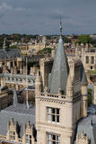 View from tower of St Mary the Great, Cambridge, England. The city of Cambridge is a university city and the county town of Cambridgeshire, England Royalty Free Stock Photos