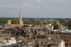 View from tower of St Mary the Great, Cambridge, England. The city of Cambridge is a university city and the county town of Cambridgeshire, England Royalty Free Stock Photo