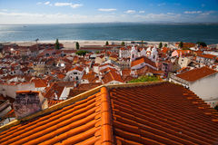 View from the tower on the Tejo river in Lisbon Royalty Free Stock Photography