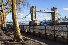 View of Tower from the Thames Path in London Royalty Free Stock Photography
