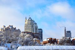 View of the towers, buildings. skyscrapers in winter. Landscape of the Dnepr city, covered with snow and hoarfrost. Ukraine. Dnepropetrovsk, Dnipro royalty free stock image
