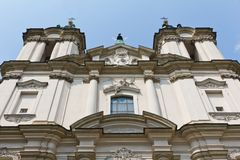 View on towers on church on skalka in cracow in poland on blue sky background Stock Photos