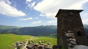 View on the towers in Omalo village, Tusheti region in Georgia stock video