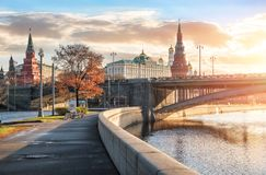 View of the towers and temples of the Moscow Kremlin Royalty Free Stock Image