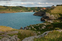 View of the town of Ajo. Cantabria, Spain, from the coast Stock Image