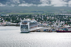 View of town through fjord, Akureyri - Iceland Royalty Free Stock Images