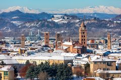 View of town of Alba, Italy royalty free stock image