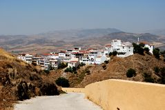 View of town, Alora, Andalusia, Spain. Part of town and surrounding countryside seen from the castle, Alora, Malaga Province, Andalusia, Spain, Western Europe Royalty Free Stock Image
