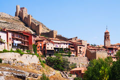 View of town with ancient fortress. Albarracin Royalty Free Stock Photo
