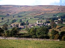 View of town, Askrigg, Wensleydale. Royalty Free Stock Photos