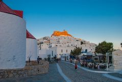 View of Astypalea`s windmills. Astypalaia is an aegean island of Greece. View of the town of Astypalaia with the windmills and the castle stock images