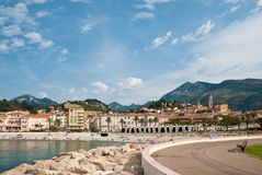 View of town and beach, Menton Stock Photos