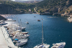 A view of the town on the Black Sea in Ukraine with lots of yachts Royalty Free Stock Photography