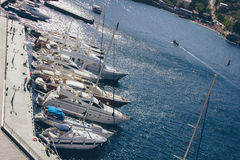 A view of the town on the Black Sea in Ukraine with lots of yachts Stock Photo