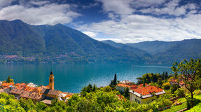 View from the town of Carate Urio, on Lake Como. Royalty Free Stock Photography
