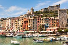 View of town and castle Portovenere from sea. View of town Portovenere from sea, Italy. Summer landscape Stock Photo