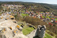 View on a town and a castle ruin Stock Photo