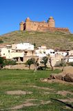 White village and castle, Lacalahorra, Spain. Stock Photography
