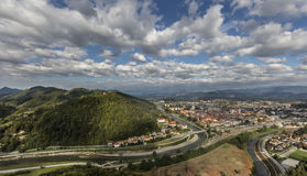 View of town Celje in landscape. Town Celje with surrounding hills and mountains, Slovenia Stock Images