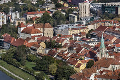 View of town Celje. Old town Celje with castle and cathedral, Slovenia Stock Image