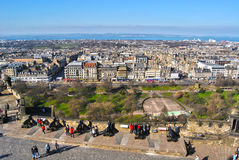 View on the town center, bay, princess street gardens and streets of the Edinburgh city from the castle Stock Image