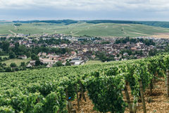 View of the town of Chablis. Wine-growing region in central France Northern Burgundy royalty free stock photo