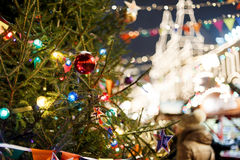 View of town Christmas tree. In new year evening Stock Image
