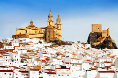 View of  town with church and  castle. Olvera Stock Photography
