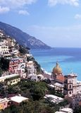 View of town and coast, Positano, Italy. Stock Photos