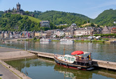 View on town Cochem and castle under town. Germany Royalty Free Stock Photography
