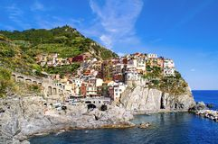 View of the town of Corniglia in the Cinque Terre Stock Photo