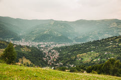 View of a town down in the mountains Royalty Free Stock Photography
